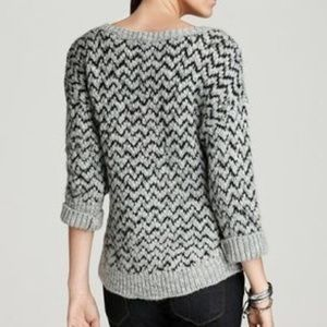 Joie Black and Grey Chevron Knit Wool Sweater